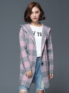 Ericdress Loose Plaid Casual Coat