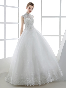 Ericdress Gorgeous Beaded High Neck Ball Gown Wedding Dress