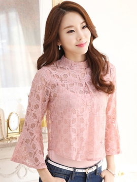 Ericdress Loose Plain Lace Blouse