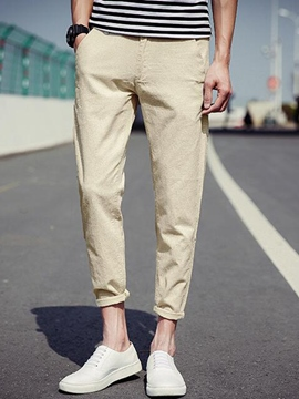 Ericdress Plain Nine Point Linen Casual Men's Pants