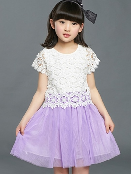 Ericdress Lace Patchwork Mesh Pleated Girls Dress