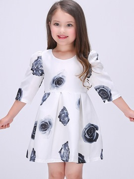 Ericdress Print Floral Girls Dress