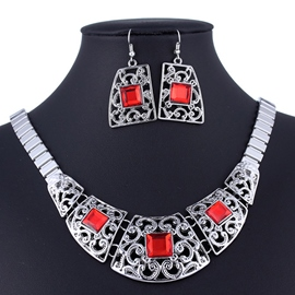 Ericdress Square Gemstones Alloy Jewelry Set