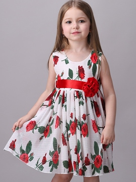 Ericdress Floral Appliques Tie Sleeveless Girls Dresses