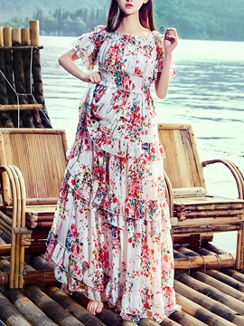 Ericdress Floral Print Falbala Slash Neck Floor-Length Maxi Dress