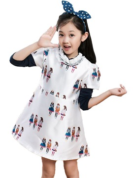 Ericdress Cartoon Print Short Sleeve Girls Dress