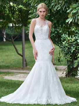 Ericdress Beautiful Beaded Lace Mermaid Wedding Dress
