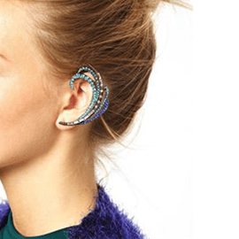 Ericdress Peacock Blue Alloy Ear Cuff