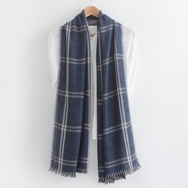 Ericdress Double Layer Plaid Cotton Scarf