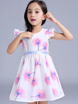 Ericdress print Falbala Lace-Up Girls Dresses