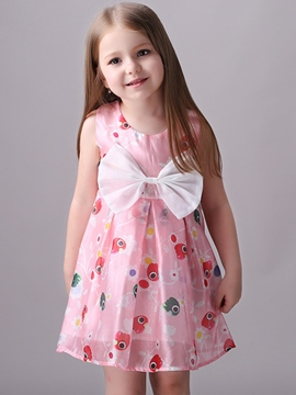 Ericdress Bowknot Patchwork Print Pleated Girls Dresses