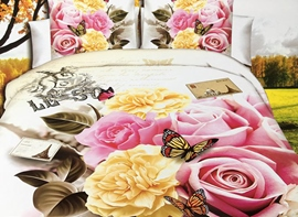Ericdress Flower Blossom Butterfly Flying Print 3D Bedding Sets