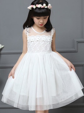 Ericdress Solid Color Sleeveless Pleated Patchwork Girls Dress