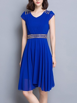 Ericdress Summer Soild Color Embroidery Casual Dress
