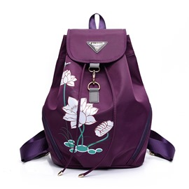 Ericdress Lotus Flower Print Nylon Backpack