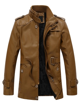 Ericdress Thicken Flocking PU Men's Jacket with Belt