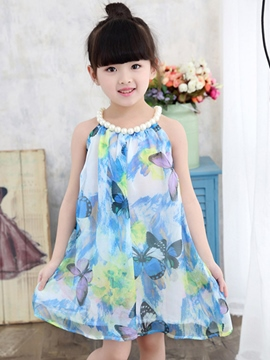 Ericdress Print Mesh Bead Halter Girls Dress
