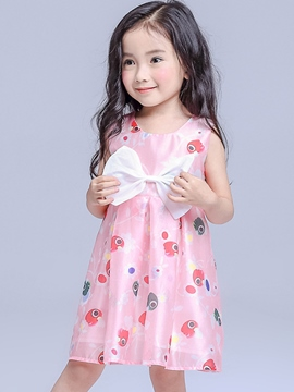 Ericdress Print Bowknot Pleated Girls Dresses