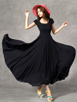 Ericdress Solid Color Pleated High-Waist Expansion Maxi Dress