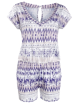 Ericdress Short Sleeve Print Rompers