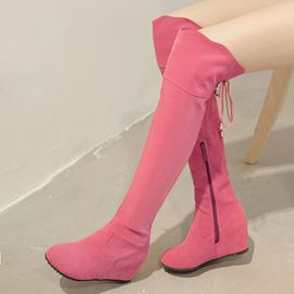Ericdress Chic Suede Elevator Heel Zip Knee High Boots