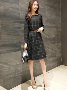 Ericdress Autumn Ladylike Long Sleeve Plaid Casual Dress