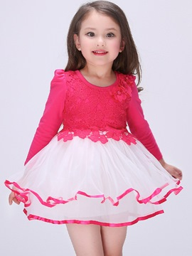 Ericdress Long Sleeve Patchwork Girls Dress