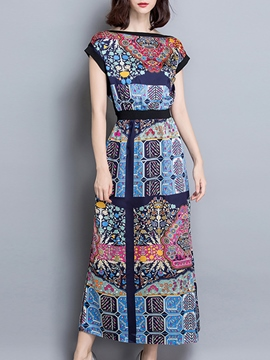 Ericdress Print Patchwork Short Sleeve Maxi Dress