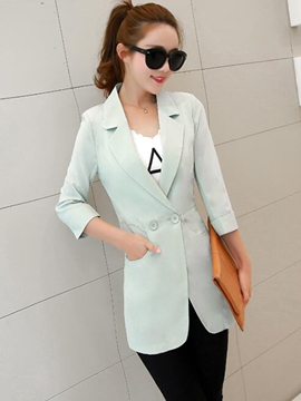 Ericdress Double Button Plain Blazer