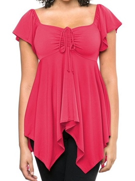 Ericdress Slim Pleated Asymmetric T-Shirt