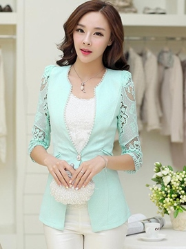 Ericdress Slim Lace-Patchwork Beads Blazer