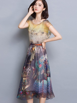 Ericdress Vintage Palace Print Casual Dress