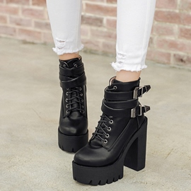 Ericdress Cool Round Toe Buckles Chunky High Heel Boots