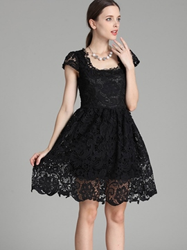 Ericdress Solid Color Short Sleeve Vintage Lace Dress