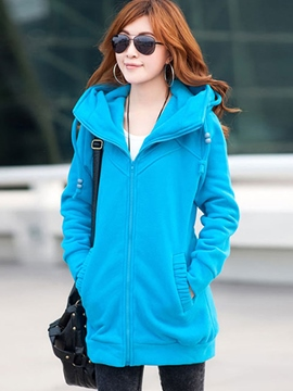 Ericdress Solid Color Slim Zipper Hoodie