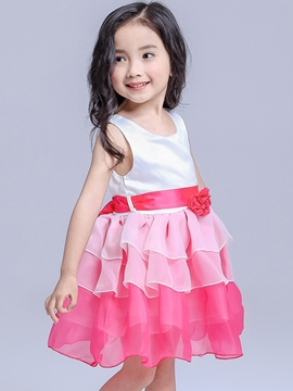 Ericdress Laminated Gradient Lace-Up Girls Dress