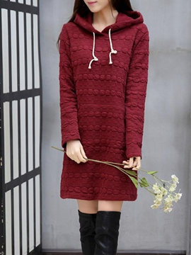 Ericdress Solid Color Lace-Up Hoodie