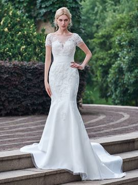 Ericdress Classic Appliques Scoop Short Sleeves Mermaid Wedding Dress