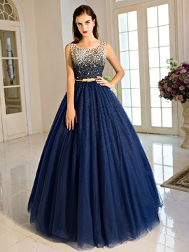 Ericdress Scoop Ball Gown Beading Pearls Sashes Long Quinceanera Dress