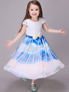 Ericdress Lace Bow Tie Print Girls Dress