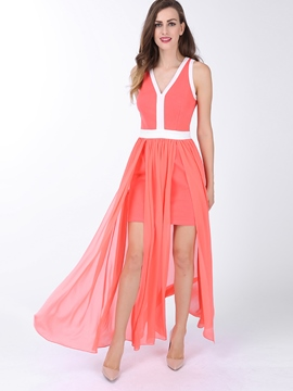Ericdress V-Neck Split Sleeveless Maxi Dress