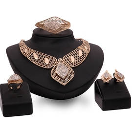 Ericdress Gold Plated Hollow Out Jewelry Set
