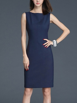 Ericdress Solid Color Sleeveless Sheath Dress