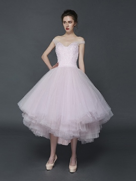 Ericdress A-Line Off-the-Shoulder Beading Pleats Asymmetry Prom Dress