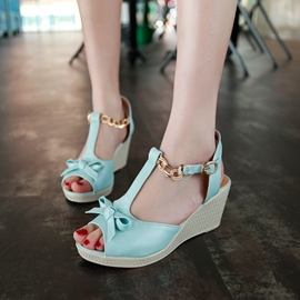 Ericdress Sweet Bowtie T Strap Wedge Sandals