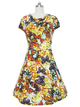 Ericdress Butterfly Print Short Sleeve Casual Dress