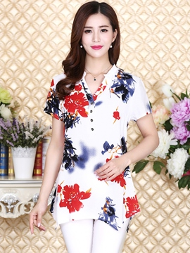 Ericdress Loose Printed Floral Plus Size T-Shirt