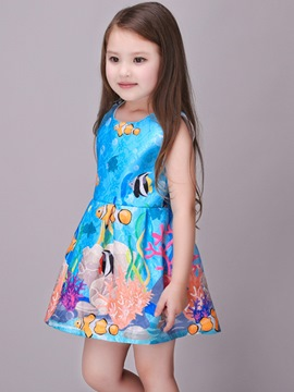Ericdress Ocean Printed Pleated Sleeveless Girls Dress