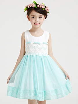 Ericdress Lace Bowknot Patchwork Lace-Trim Pleated Girls Dresses