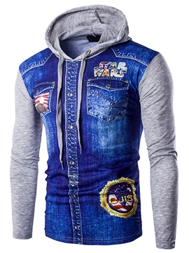 Ericdress Denim Casual Patchwork Men's Hoodie